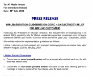 PRESS RELEASE: IMPLEMENTATION GUIDELINES ON COVID – 19 ELECTRICITY RELIEF FOR LIFELINE CUSTOMERS